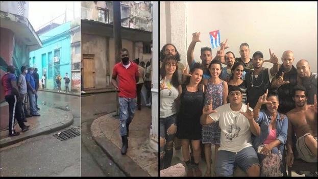 Asedio de los oficiales de la Seguridad del Estado y la policía a la sede del Movimiento San Isidro en La Habana Vieja. (Collage)