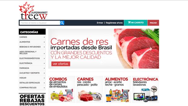 Supermarket Treew, uno de los portales más populares para compras en la red, mantiene ofertas para la carne brasileña. -8Captura)