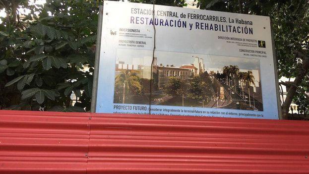 La Terminal Central de Ferrocarriles de La Habana lleva años cerrada en un proceso de restauración. (14ymedio)