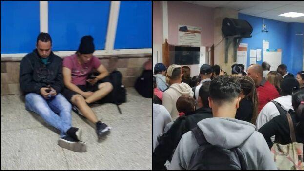 Los viajeros se sientan en el suelo o en los muros de la Terminal de Ómnibus Nacionales a falta de suficientes asientos. (Cortesía)