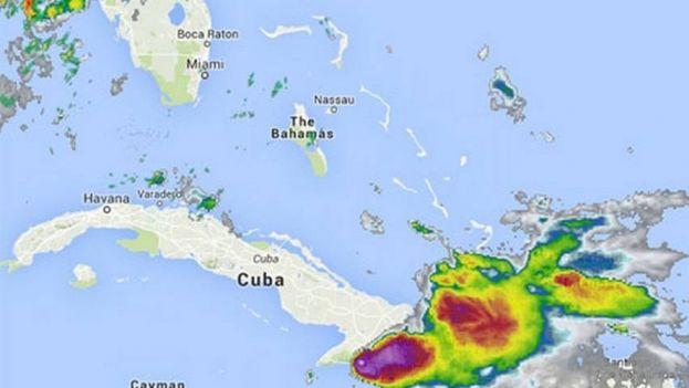 Tormenta tropical 'Erika' entrando por Cuba