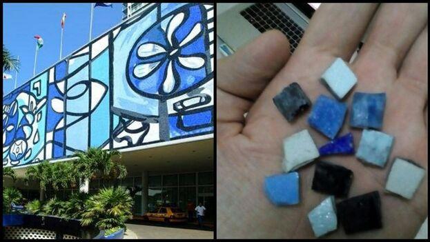 Varios internautas han denunciado que algunas de las piezas del mural de Amelia Peláez están tiradas en la calle. (Facebook)