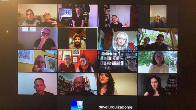 Vigilia telemática organizada desde Barcelona por escritores y artistas del exilio cubano en solidaridad con el Movimiento San Isidro. (Captura)