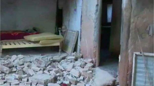 Vivienda dañada durante el terremoto en Granma. (Prensa Latina)