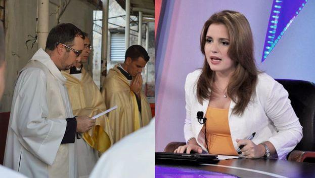 El sacerdote católico Wilfredo Leiter Juvier y la periodista Cristina Escobar. (14ymedio)