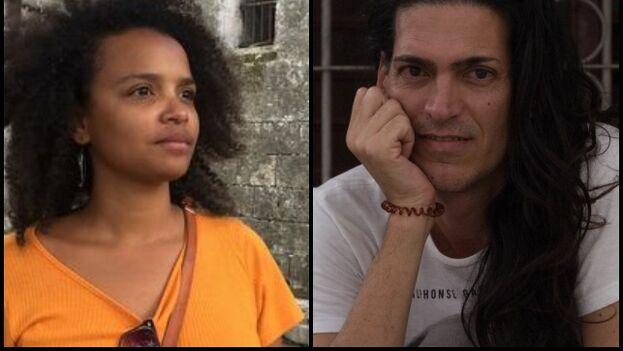 La curadora Yanelys Núñez y el artista Nonardo Perea denuncian las presiones sufridas por su campaña contra el Decreto 349. (14ymedio/Cubanet)