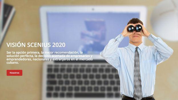 En la página digital de la cooperativa no agropecuaria Scenius aún se promocionan sus servicios contables. (Caputar Scenius.coop)