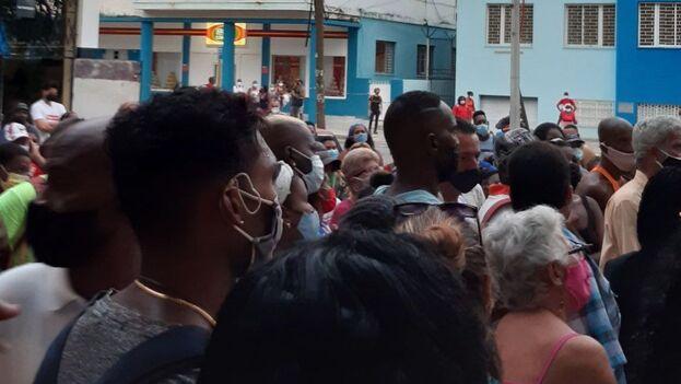 No habían pasado más de cinco minutos de las cinco de la mañana, antes del amanecer, cuando cientos de personas ya estaban en la fila para entrar en La Casa de las Conservas. (14ymedio)