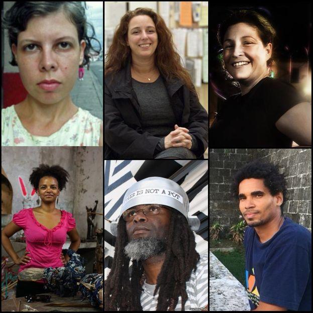 Los seis artistas detenidos la tarde de este miércoles en La Habana. (14ymedio)