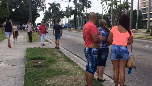 Clientes esperan en la avenida Rancho Boyeros por un taxi que los traslade hacia el Vedado o Centro Habana. (14ymedio)