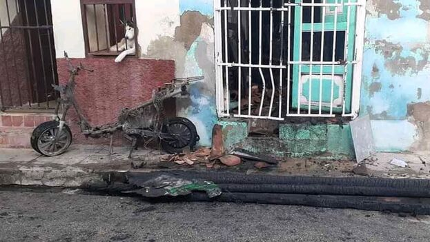 El incidente ocurrió en la calle Pancho Jiménez, antigua calle Amargura, entre Zamora y Paula, dentro del casco histórico de la ciudad espirituana. (14ymedio)