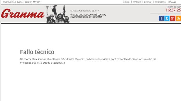 La campaña oficial por el Sí empieza con una página en blanco en Granma. (Captura)