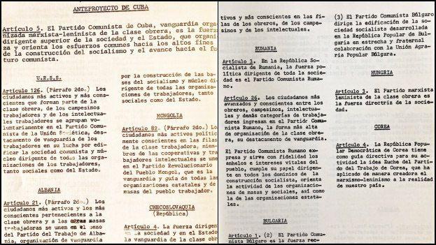 En un folleto de circulación interna para cuadros del Partido, publicado en edición limitada en abril de 1975, se ofrecen los elementos que permiten hacer un estudio comparativo entre los artículos.