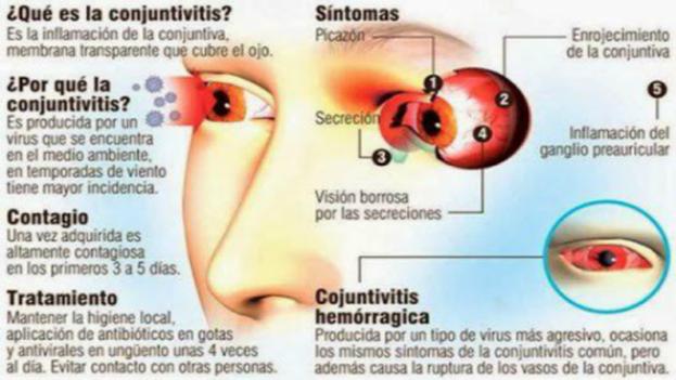 La conjuntivitis hemorrágica es de origen viral y altamente transmisible. Su contagio ocurre por contaminación con fluidos oculares o gotas de saliva, así como a través de las manos. (OMS)