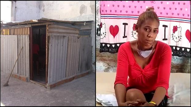 La precaria construcción de Yaneysi Dupuy, en un descampado abandonado del Estado en Santiago de Cuba. (14ymedio)