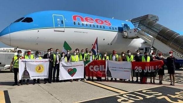 La delegación italiana que trajo el donativo desde Milán tiene previsto apoyar el trabajo de clasificación y distribución de la carga. (Cubadebate)