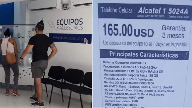 Una de las ofertas disponibles en las dos oficinas de Etecsa de la capital que venden celulares en dólares. (Twitter/@JancelMoreno)