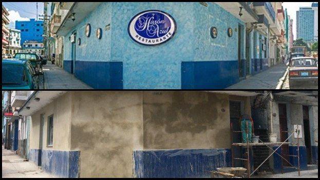 Antes y después de la esquina donde estaba ubicada la paladar Hurón Azul. (14ymedio)