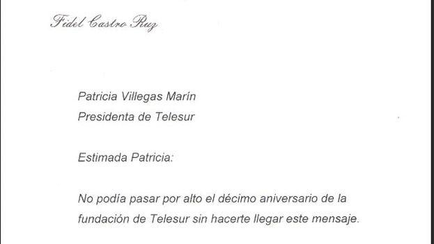 La carta que el expresidente cubano Fidel Castro envió a Telesur.
