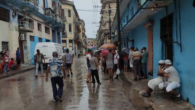 A pesar de las fuertes lluvias en La Habana, las colas para comprar alimentos se mantuvieron. (14ymedio)