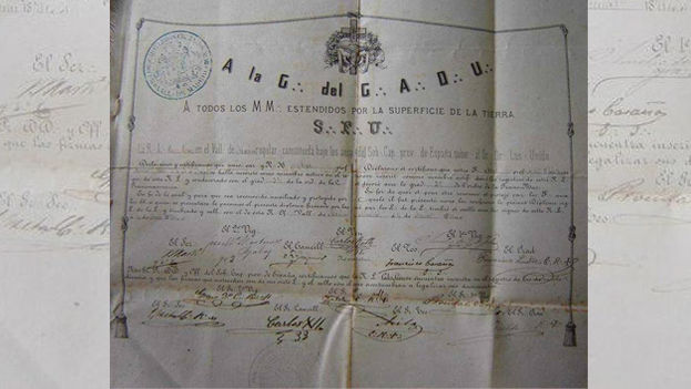 Documento histórico que prueba la pertenencia masónica de José Martí. (Cortesía)