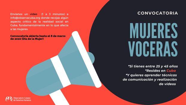 Las interesadas deberán realizar un vídeo corto que recoja algún aspecto crítico de la realidad social en Cuba. (OCDH)