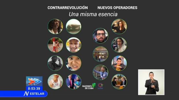 La lista de artistas, activistas y periodistas independientes señalados el pasado miércoles en el noticiero principal de la Televisión Nacional. (Captura)