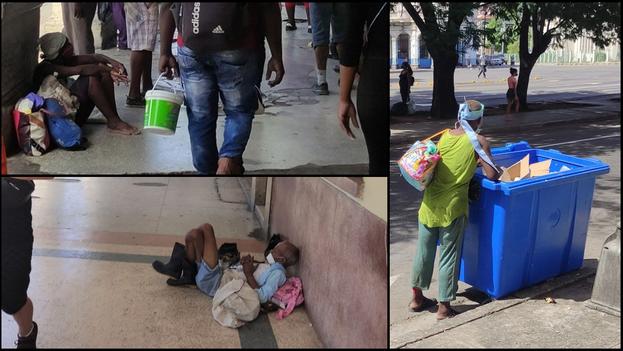 Algunos mendigos captados por el lente de '14ymedio' en La Habana pidiendo limosna o rebuscando en la basura. (Collage)
