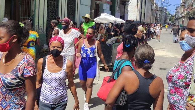 Cola en el municipio de Centro Habana, este 13 de agosto de 2021. (14ymedio)