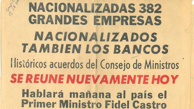 La prensa oficial anuncia la nacionalización de 382 empresas, entre ellas 105 centrales azucareros; 18 destilerías; seis empresas de bebidas alcohólicas; siete alimenticias; dos de aceites y grasas, entre otras. (Archivo)