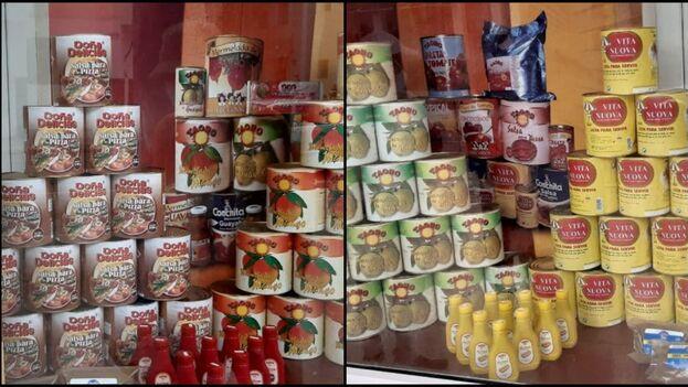 Algunos de los productos que estaban a la venta este domingo en La Casa de las Conservas. (Collage)