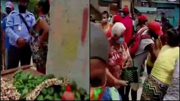 Dos videos publicados en Facebook registran cómo los vecinos se unieron para que no se llevaran la mercancía. (Collage)