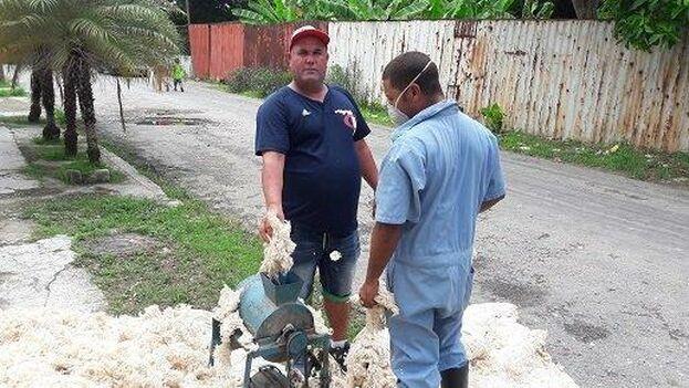 Algunos reparadores de colchones han construido máquinas eléctricas que les permitan separar la guata para rellenar los colchones. (Revolico)