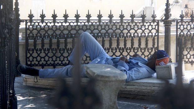 Este sepulturero de la Necrópolis de Colón, en La Habana, después de almorzar pasó a colocarse en posición horizontal sobre la primera tumba que encontró. (14ymedio)
