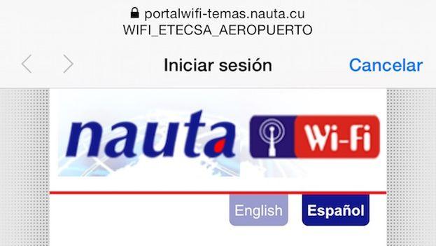 Una captura de pantalla de un teléfono móvil en el momento de conectarse a la red wifi del Aeropuerto José Martí. (14ymedio)