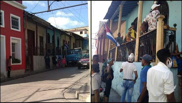 Los trabajadores de Comunales se algolpaban ante la sede asaltada para obtener noticias sobre su salario. (14ymedio)