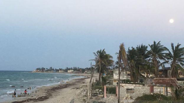 Los vecinos en la primera línea de la playa Guanabo ven como el mar cada vez está mas cerca de sus viviendas. (14ymedio)