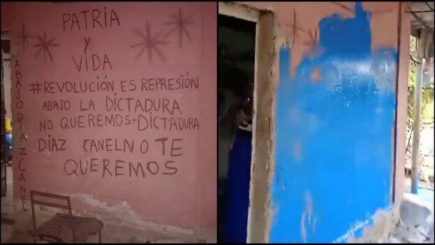 El muro de la vivienda donde viven Anyell Valdés Cruz y su familia, antes y después del acto de repudio. (Collage)