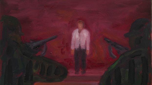 Juan Abreu, '1959. Hombre solo', fragmento. (Oil on canvas, 35 x 27 cm, colección de Carles Enrich)