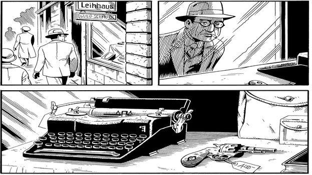 El día en que Adolf Hitler es declarado canciller de Alemania en 1933 el periodista Kurt Severing contempla una máquina de escribir y un revólver en una tienda. (Drawn and Quarterly)