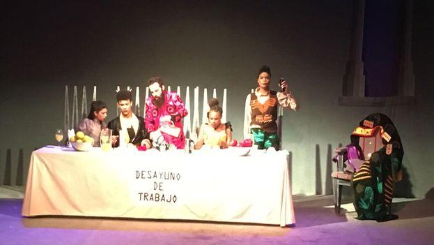 La obra 'El Banquete Infinito', escrita por el dramaturgo Alberto Pedro Torriente, se estrenó el pasado jueves 30 de noviembre en el Teatro de la Luna. (14ymedio)