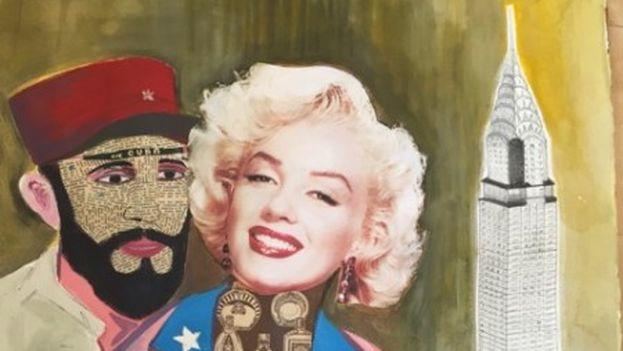 El cartel de 'Captain America', de Bernardo Navarro, en el que Fidel Castro aparece junto a Marilyn Monroe y el icónico edificio Chrysler.