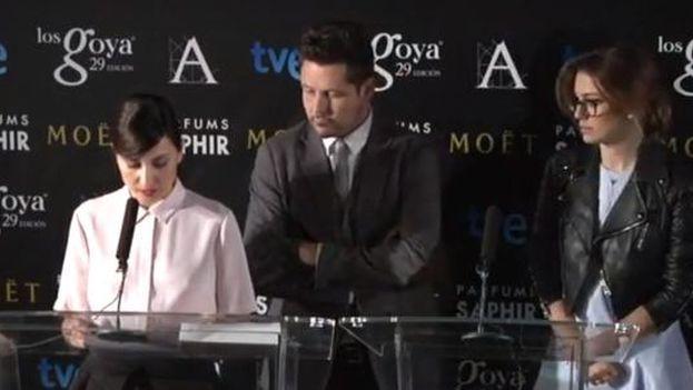 Captura de la lectura de los nominados a los Premios Goya