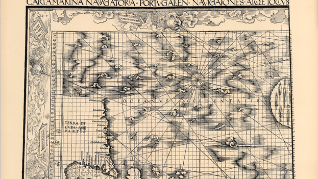 """En la Carta Marina de 1516 Waldseemüller llama """"Terra de Cvba"""" al contorno que en la actualidad ocupa Estados Unidos."""