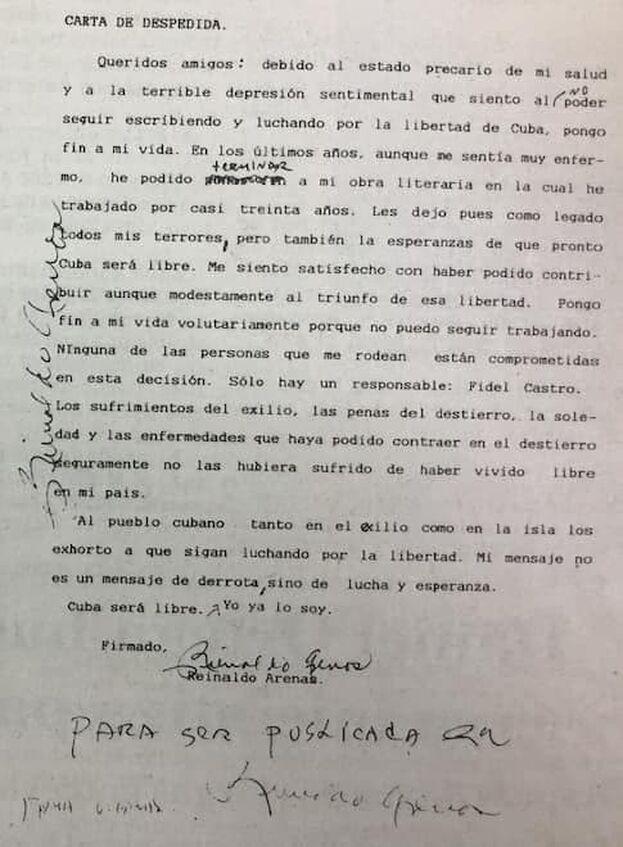 Carta de despedida de Reinaldo Arenas.