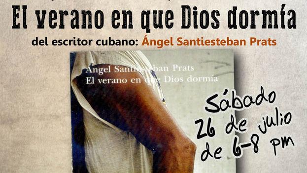 Cartel de la presentación de la novela 'El verano en que Dios dormía'. (14ymedio)