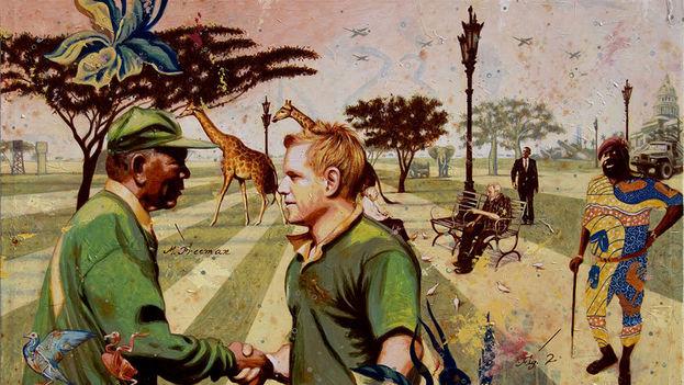 'La paix de Cuito Cuanavale (o un paseo por el Parque Lenin después de la victoria)'. 2011 Acrílico sobre tela. Alexis Esquivel Bermúdez.