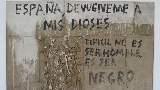 'España, devuélveme a mis dioses'. 2000 Óleo sobre tela de yute y nudos. Juan Roberto Diago. (14ymedio)