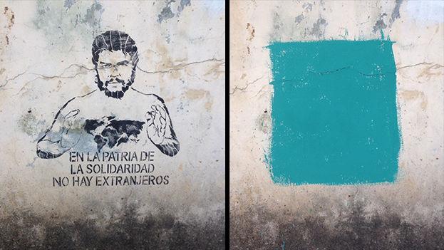 Grafitti pintado y borrado posteriormente en un muro de La Habana. (14ymedio)