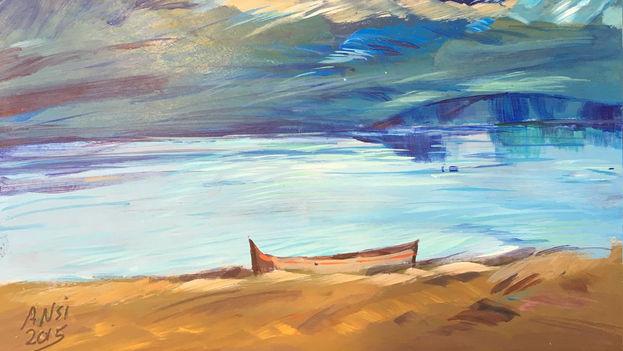 Uno de los cuadros pintado por un preso de Guantánamo perteneciente a la exposición 'Ode to the Sea'. (artfromguantanamo.com)